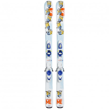 SKI MINIONS + FIXATIONS ROSSIGNOL KID X 45 B76 BLUE YELLOW