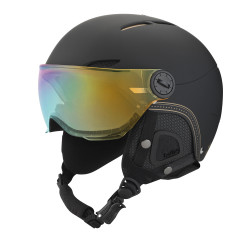 CASQUE DE SKI JULIET VISOR BLACK & GOLD WITH 1 GOLD VISOR + 1 LEMON VISOR