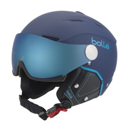 CASQUE DE SKI BACKLINE VISOR PREMIUM SOFT NAVY & CYAN WITH 1 LEMON