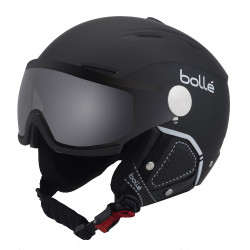 CASQUE DE SKI BACKLINE VISOR PREMIUM SOFT BLACK & WHITE WITH 1 MODULATOR SILVER VISOR