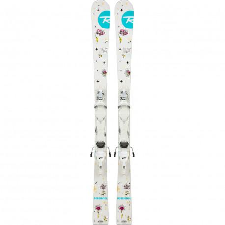 SKI DIVA + FIXATIONS XPRESS JR 7 B83 WHITE SILVER