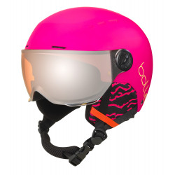 CASQUE DE SKI QUIZ VISOR MATTE HOT PINK WITH ORANGE GUN CAT.2
