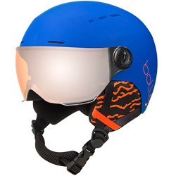 CASQUE DE SKI QUIZ VISOR MATTE ROYAL BLUE WITH ORANGE GUN CAT.2