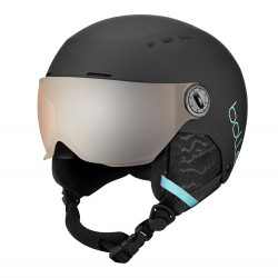CASQUE DE SKI QUIZ VISOR MATTE BLACK & BLUE WITH ORANGE GUN VISOR CAT.2