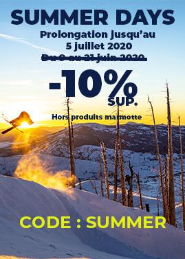 SUMMER DAYS : 10% de remise supplémentaire jusqu'au 5 juillet avec le code SUMMER