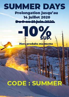SUMMER DAYS : 10% de remise supplémentaire jusqu'au 14 juillet avec le code SUMMER
