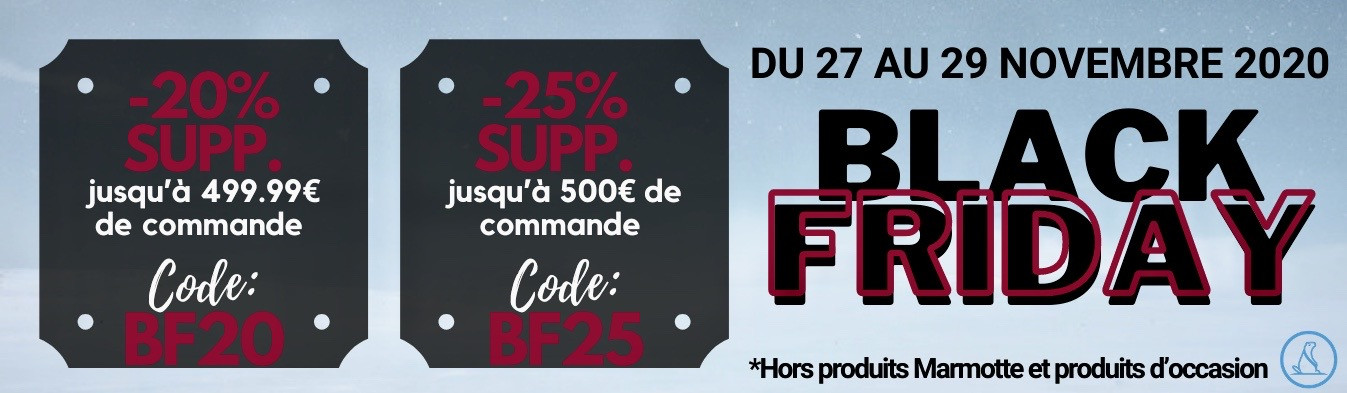 BLACK FRIDAY DU 27 AU 29 NOVEMBRE 2020 : jusqu'à -25% sup.