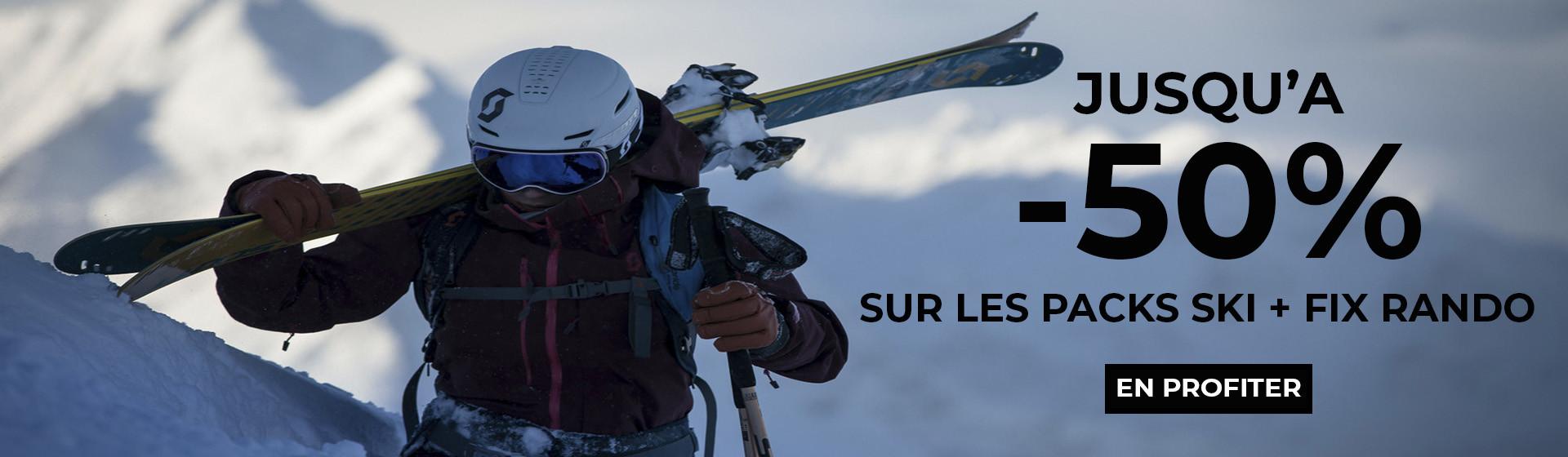 Jusqu'à -50% sur les packs ski + fix rando